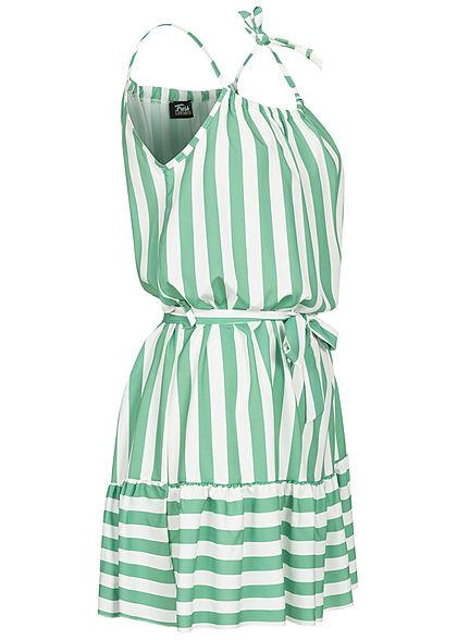 Fresh Lemons Damen Kleid inkl. Bindegürtel Streifen Muster mint grün weiss
