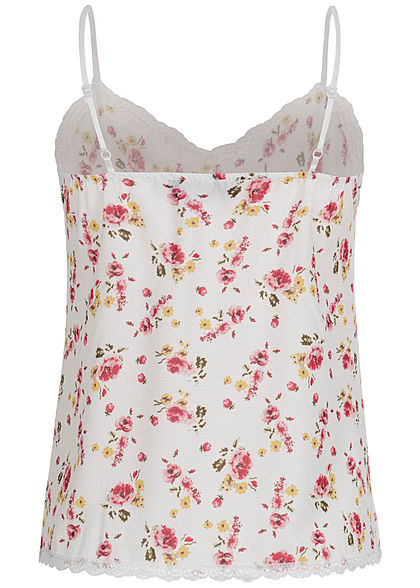 Fresh Lemons Damen V-Neck Träger Top mit Spitze Blumen Muster weiss rosa gelb