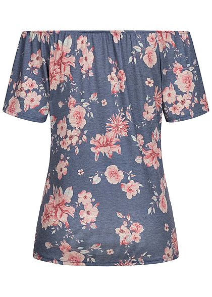 Fresh Lemons Damen Off Shoulder Shirt Knopfleiste Blumen Muster blau rosa
