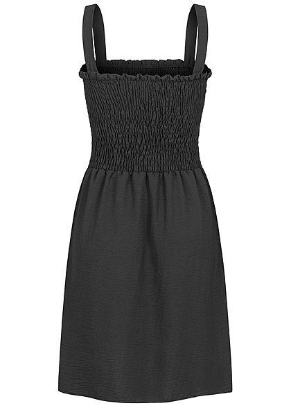 Fresh Lemons Damen Mini Raff-Kleid mit Deko Knöpfen schwarz