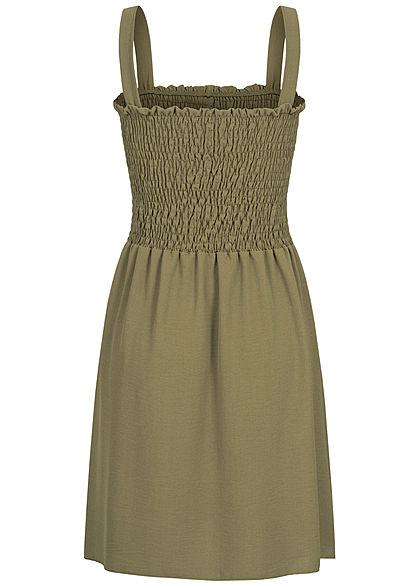 Fresh Lemons Damen Mini Raff-Kleid mit Deko Knöpfen military grün