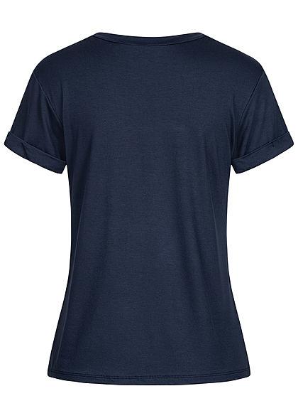 Fresh Tee Damen T-Shirt Anker Marine Print Ärmelumschlag navy blau rot