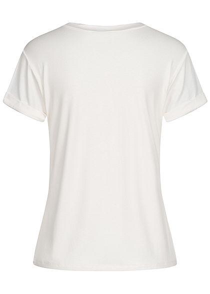 Fresh Tee Damen T-Shirt Anker Sea Story Print Ärmelumschlag weiss rot