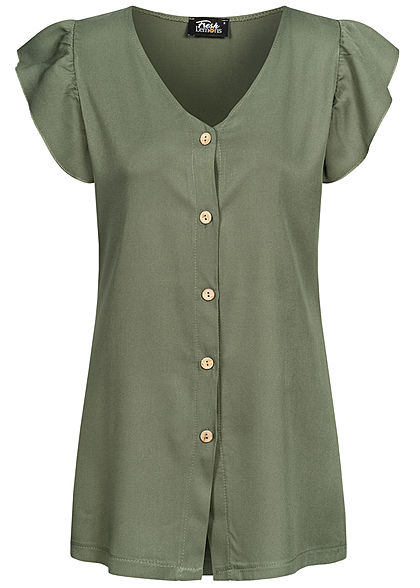 Fresh Lemons Damen V-Neck Frill Bluse Knopfleiste military grün - Art.-Nr.: 20055143