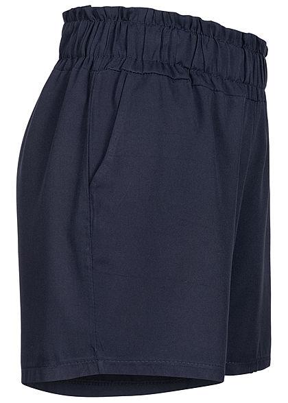 Fresh Lemons Damen Viskose Paperbag Shorts 2-Pockets navy blau