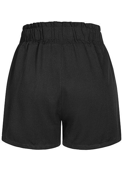 Fresh Lemons Damen Viskose Paperbag Shorts 2-Pockets schwarz