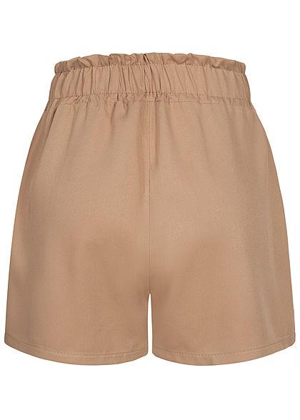 Fresh Lemons Damen Viskose Paperbag Shorts 2-Pockets fango braun