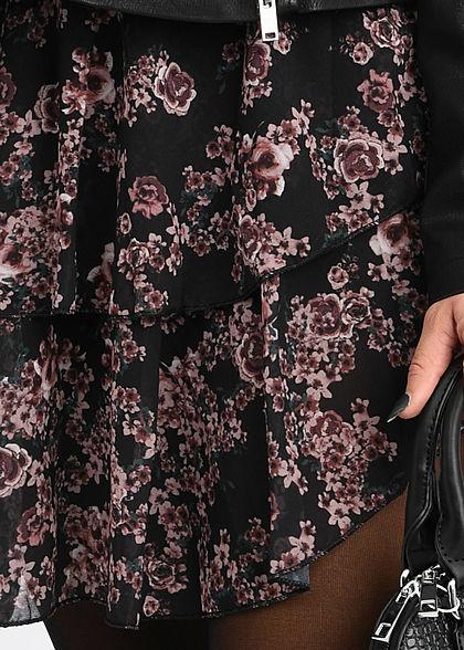 Fresh Lemons Damen Mini Stufenrock 2-lagig Blumen Muster schwarz camel rosa