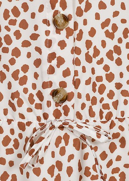 Fresh Lemons Damen V-Neck Kleid Knopfleiste & Schleife Flocken Muster weiss braun