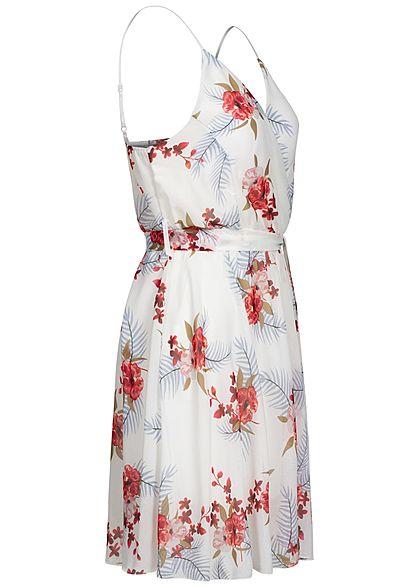 Fresh Lemons Damen V-Neck Mini Kleid Wickeloptik 2-lagig Blumen Muster weiss mc