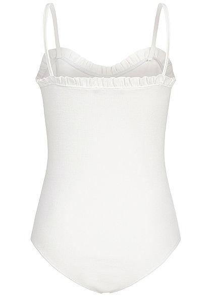 Styleboom Fashion Damen Ribbed Body mit Rüschen Detail Deko Knopfleiste off weiss