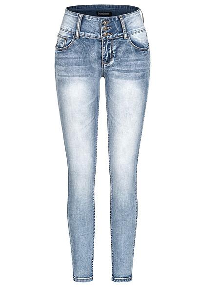 Seventyseven Lifestyle Damen Skinny Jeans Hose 5-Pockets breiter Bund hell blau denim