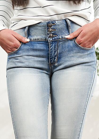 Seventyseven Lifestyle Damen Skinny Jeans Hose breiter Bund mit 3er Knopfleiste hellblau