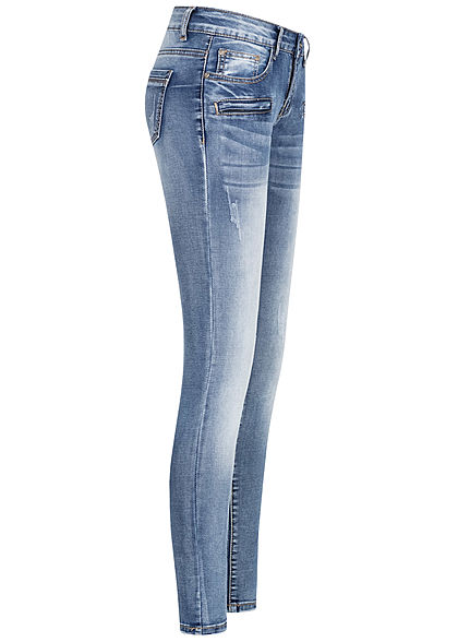 Seventyseven Lifestyle Damen Skinny Zip Jeans Hose 5-Pockets medium blau denim