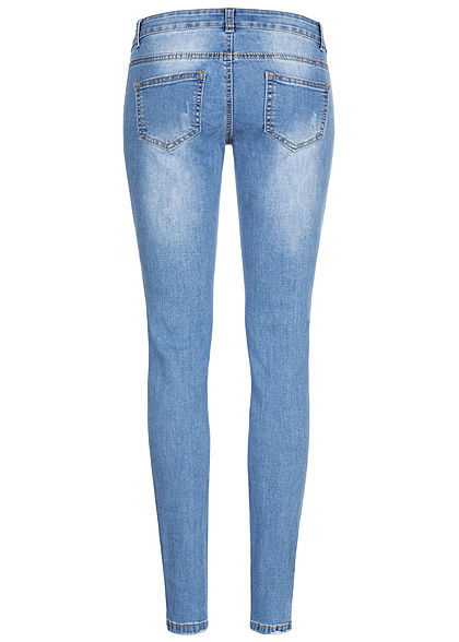 Seventyseven Lifestyle Damen Skinny Jeans Hose 5-Pockets Destroy Optik med. blau denim