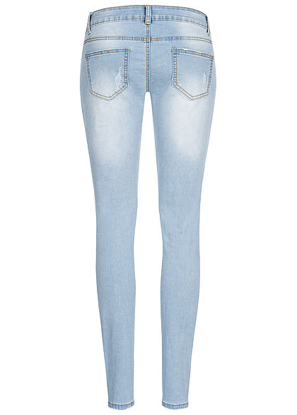 Seventyseven Lifestyle Damen Skinny Jeans Hose 5-Pockets Destroy Optik hell blau denim