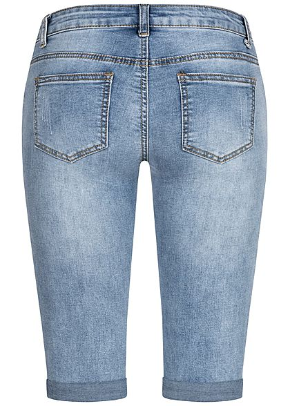 Seventyseven Lifestyle Damen Capri Jeans Hose 5-Pockets Destroy Optik hell blau denim