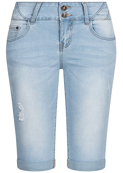 Seventyseven Lifestyle Damen Bermuda Jeans Shorts 5-Pockets Crash Look hell blau denim