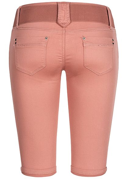 Seventyseven Lifestyle Damen Capri Jeans Hose inkl. Gürtel 4-Pockets dunkel rose pink