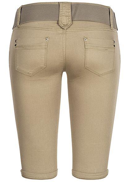 Seventyseven Lifestyle Damen Capri Jeans Hose inkl. Gürtel 4-Pockets hell khaki grün