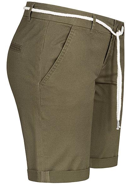 Seventyseven Lifestyle Damen Chino Shorts 2-Pockets inkl. Kordelzug oliv grün