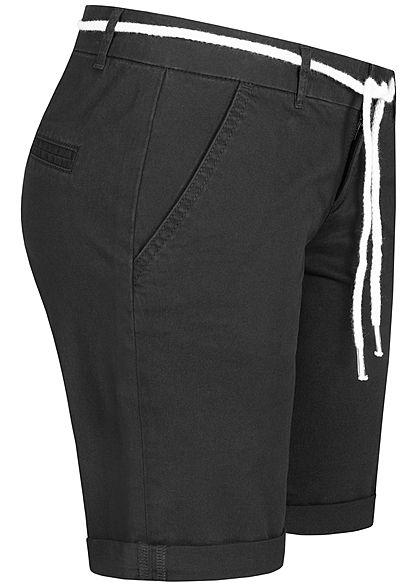 Seventyseven Lifestyle Damen Chino Shorts 2-Pockets inkl. Kordelzug schwarz
