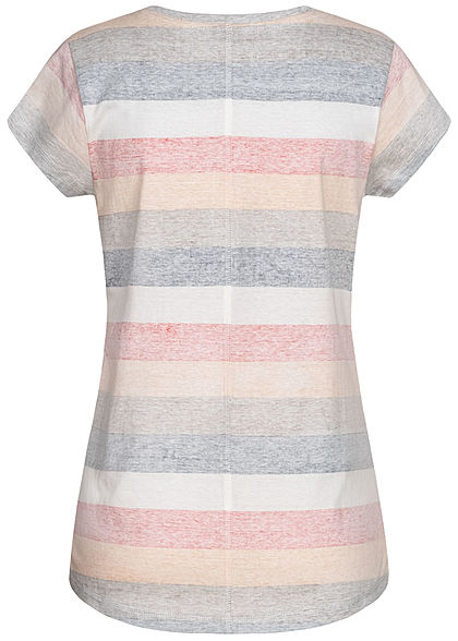 Seventyseven Lifestyle Damen V-Neck T-Shirt Inside Streifen Print rot khaki grau mc