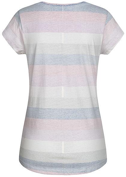 Seventyseven Lifestyle Damen V-Neck T-Shirt Inside Streifen Print blau weiss grau pink