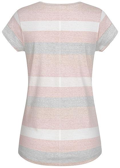 Seventyseven Lifestyle Damen V-Neck T-Shirt Inside Streifen Print beige weiss cream ocker