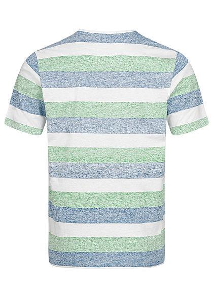 Seventyseven Lifestyle Herren T-Shirt Brusttasche Streifen Muster grün weiss blau