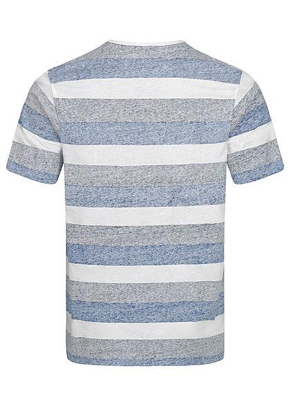 Seventyseven Lifestyle Herren T-Shirt Brusttasche Streifen Muster blau weiss schwarz