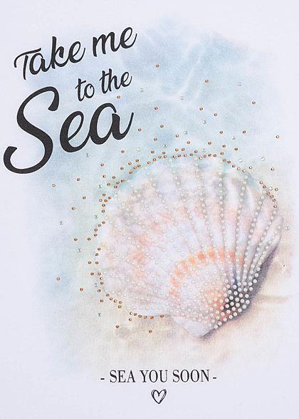 Zabaione Damen T-Shirt Muschel Print Sea Pailletten Perlen weiss