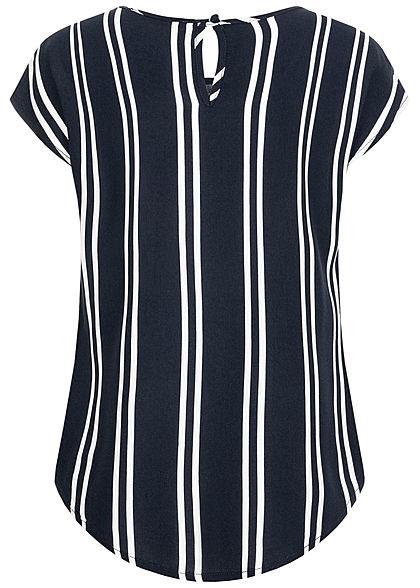 Hailys Kids Mädchen Blusen Shirt Vokuhila Streifen Muster navy blau weiss