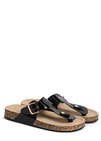 Hailys Damen Schuh Sandale mit Schnalle Kunstleder Glanz Optik Zehensteg schwarz