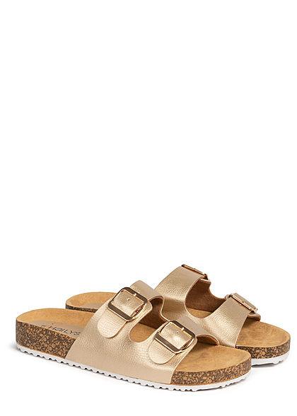 Hailys Damen Schuh Sandale 2er Schnalle Kunstleder gold