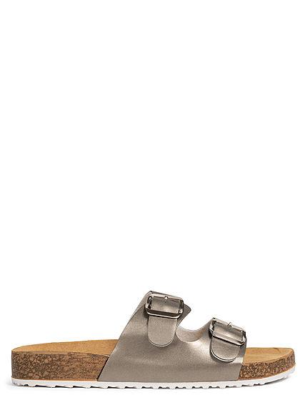 Zabaione Damen Schuh Sandale Kunstleder 2er Schnalle champagner silber