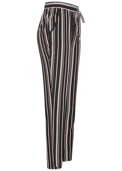 Hailys Damen Sommer Hose 2-Pockets Deko Tunnelzug Streifen Muster schwarz rosa