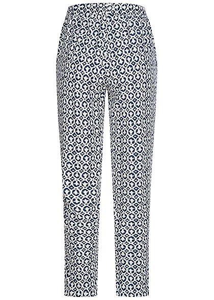 Hailys Damen Sommer Hose 2-Pockets Deko Tunnelzug Ornament Print navy blau weiss