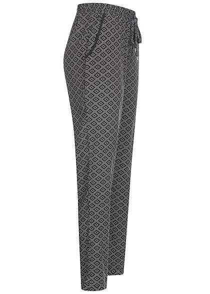 Hailys Damen Sommer Hose 2-Pockets Deko Tunnelzug Punkte Muster schwarz weiss