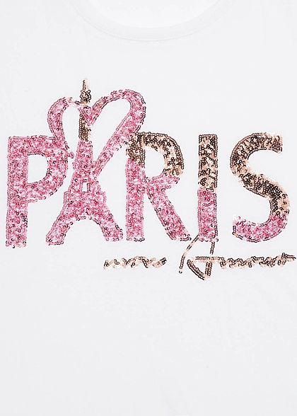 Hailys Damen T-Shirt Paris Print Pailletten weiss rosa kupfer
