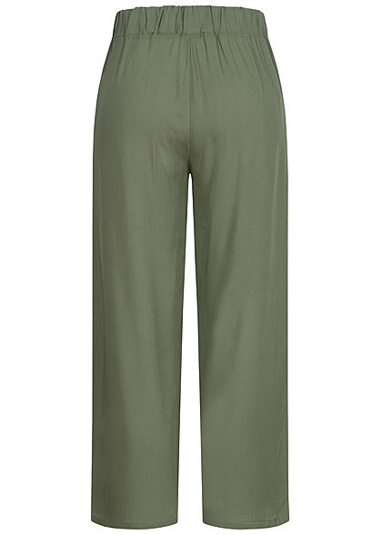 Hailys Damen leichte Culotte Sommerhose Bindedetail vorne unicolor khaki grün