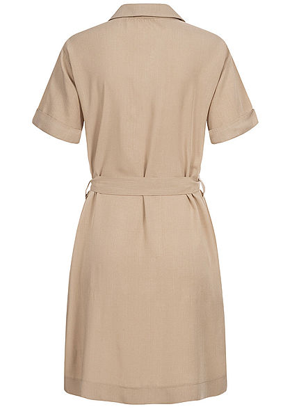 Hailys Damen Blusen Kleid inkl Bindegürtel Knopfleiste 4-Pockets beige
