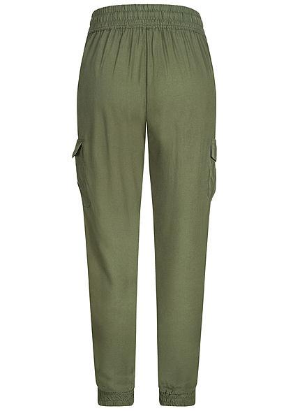 Hailys Damen Cargo Stoffhose 4-Pockets Tunnelzug khaki grün