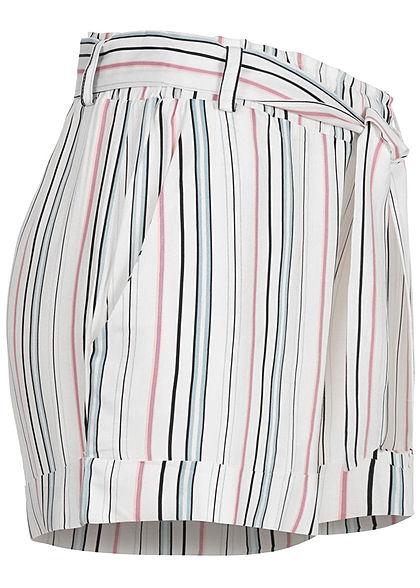 Hailys Damen Sommer Shorts inkl. Bindegürtel 2-Pockets Strteifen Muster weiss rosa