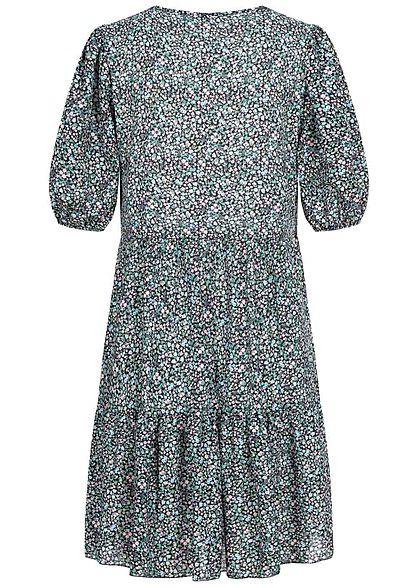 Hailys Damen 1/2-Arm V-Neck Puffer Kleid Blumen Muster schwarz multicolor