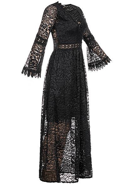 Hailys Damen Allover Spitzen Maxi Kleid V-Neck 2-lagig schwarz