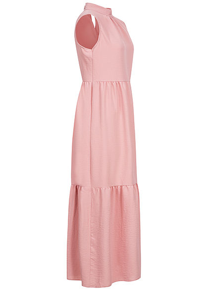 Hailys Damen Puffer Maxi Kleid Schleife hinten rosa