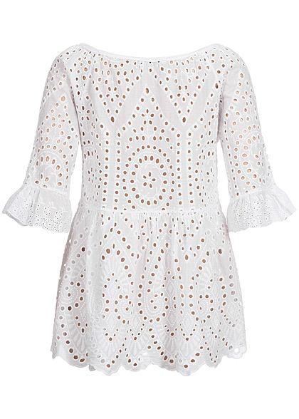 Hailys Damen 1/2-Arm Blusen Shirt Lochmuster Puffer Schnürausschnitt weiss