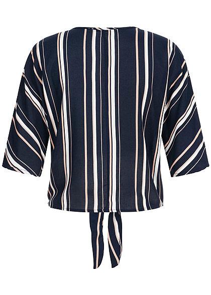 Hailys Damen 1/2-Arm V-Neck Bluse Bindedetail vorne Streifen Muster navy blau