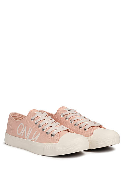 ONLY Damen Schuh 2-Tone Canvas Sneaker mit Logo Print hell rosa weiss